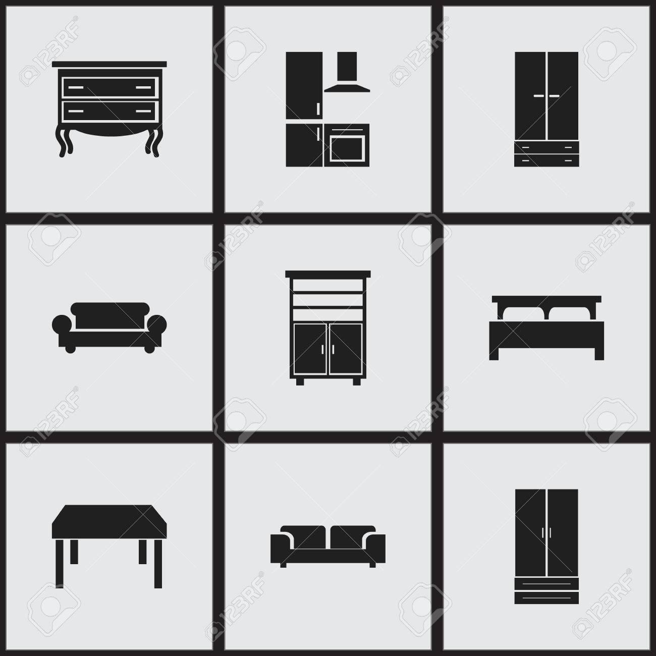 Set Von 9 Bearbeitbaren Innensymbolen. Beinhaltet Symbole Wie Küche ...