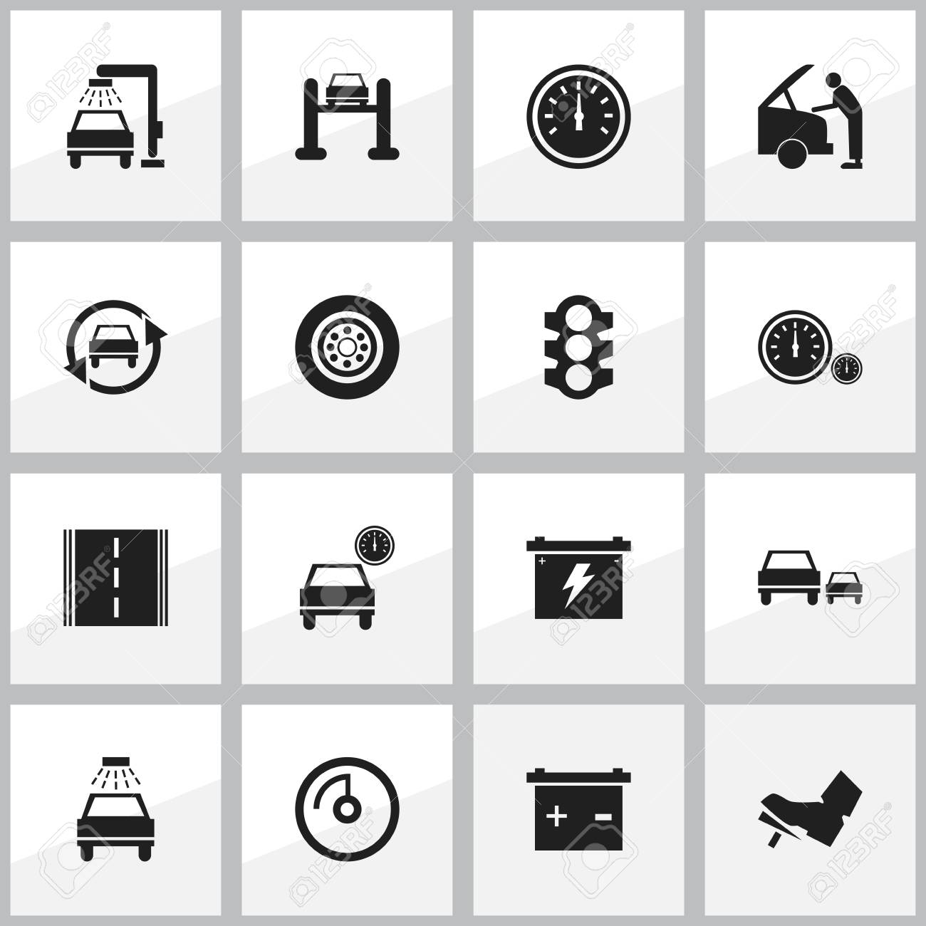 Set Of 16 Editable Car Icons Includes Symbols Such As Speed