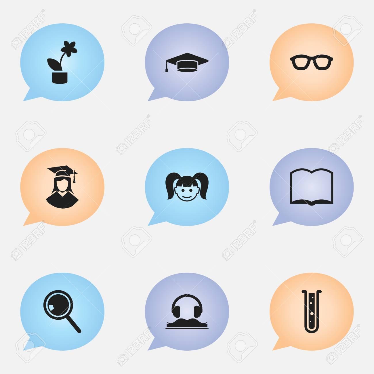 Foto de archivo - Set de 9 iconos editables de graduación. Incluye símbolos  tales como graduado a14022f0d79