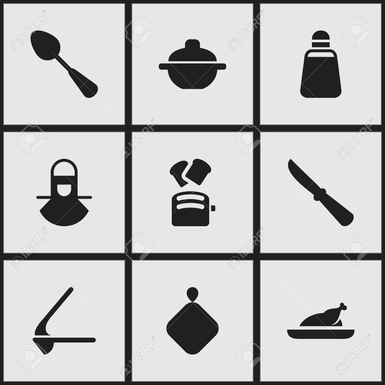 Set Of 9 Editable Food Icons. Includes Symbols Such As Rocker ...