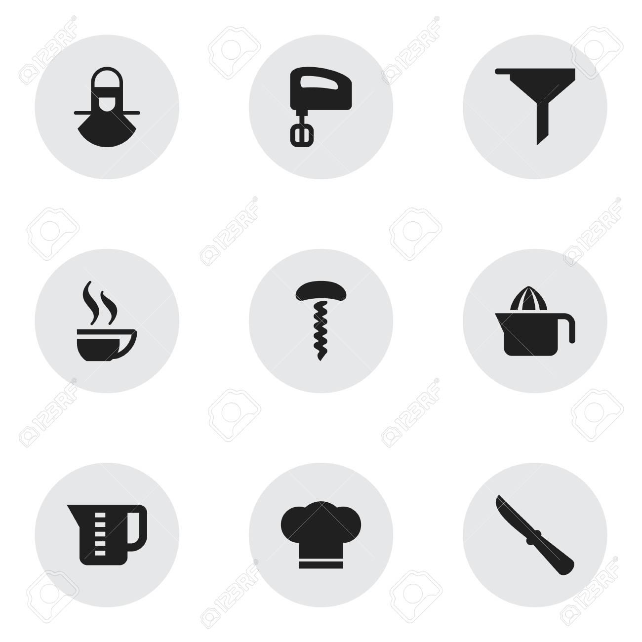 Set De 9 Iconos Editables De Cocina. Incluye Símbolos Como Taza De ...