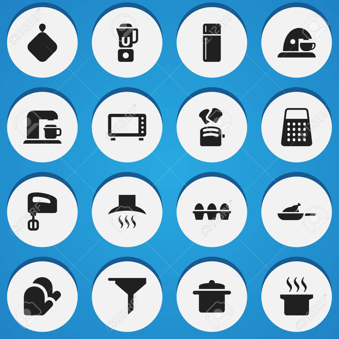 Set Of 16 Editable Cooking Icons Includes Symbols Such As Grill