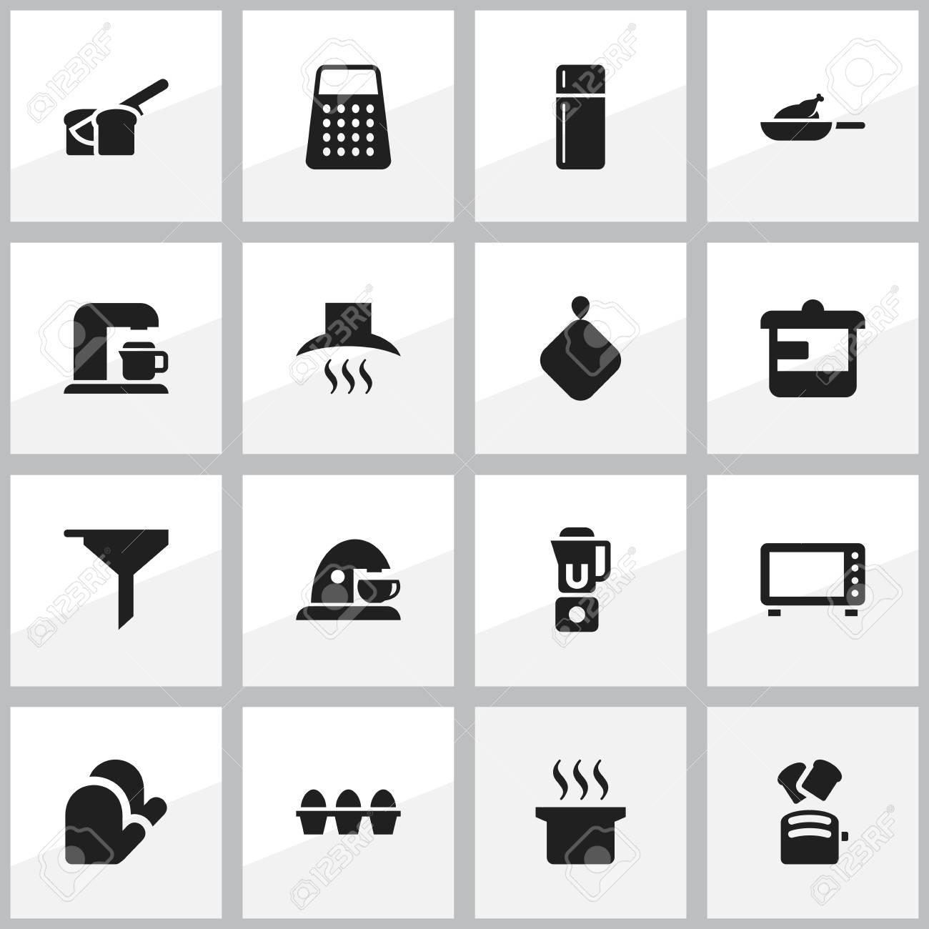 Set Von 16 Editierbaren Lebensmittel Icons Enthalt Symbole Wie
