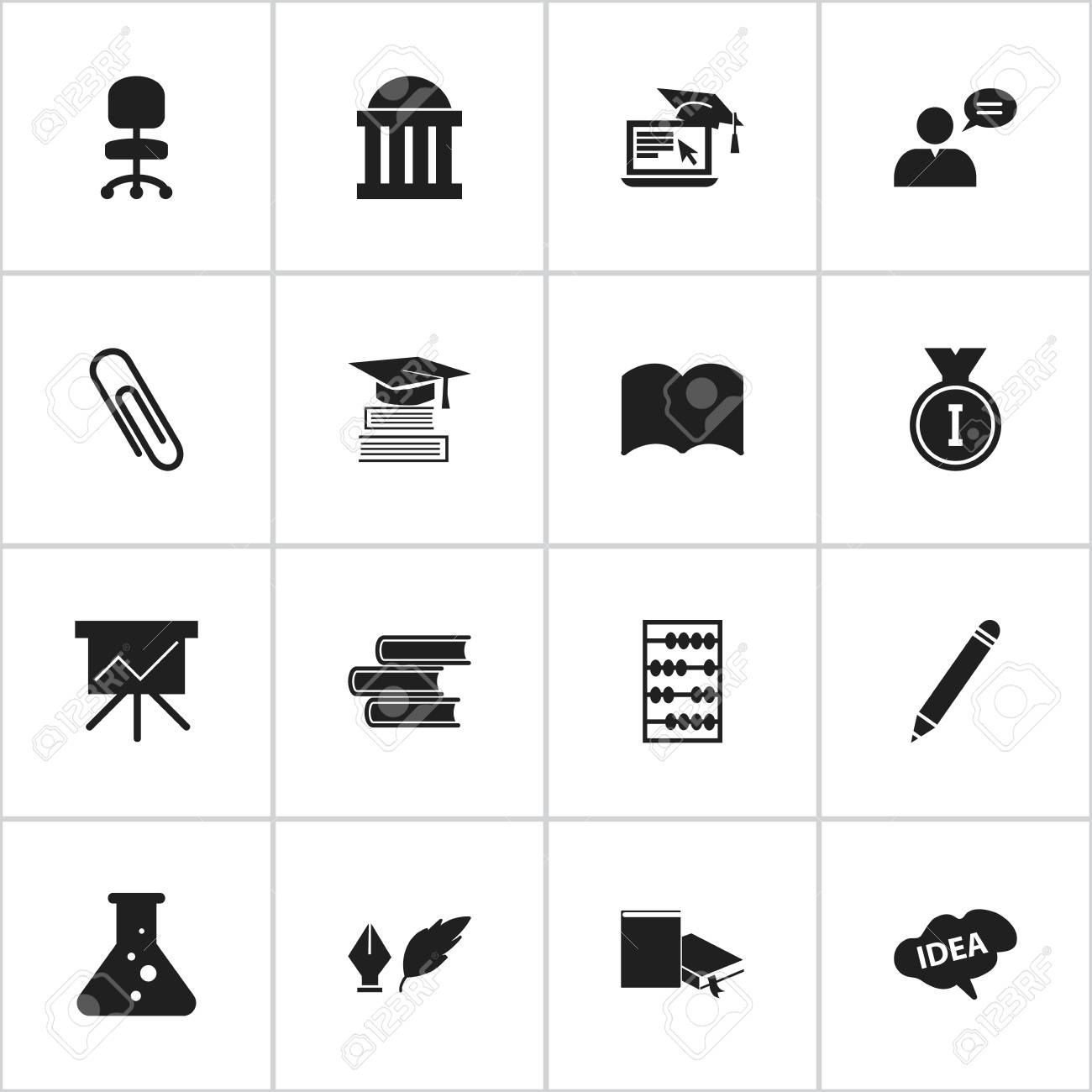 Set Of 16 Editable School Icons Includes Symbols Such As Work