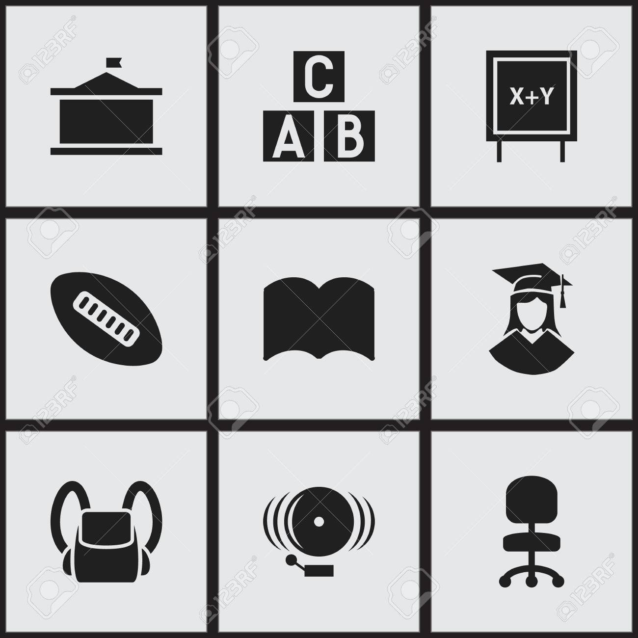 Set Of 9 Editable Education Icons Includes Symbols Such As Oval