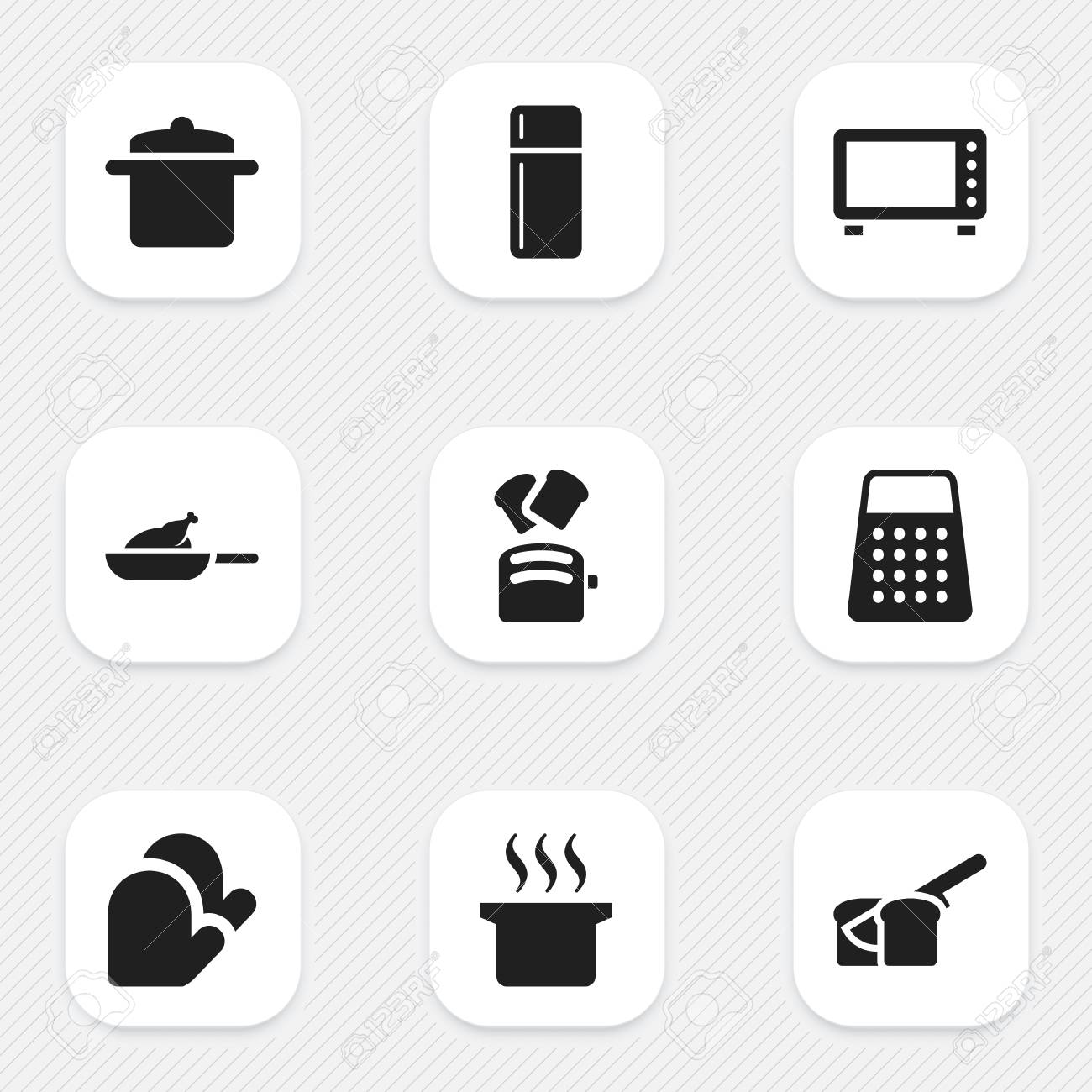 Set Of 9 Editable Cooking Icons Includes Symbols Such As Oven