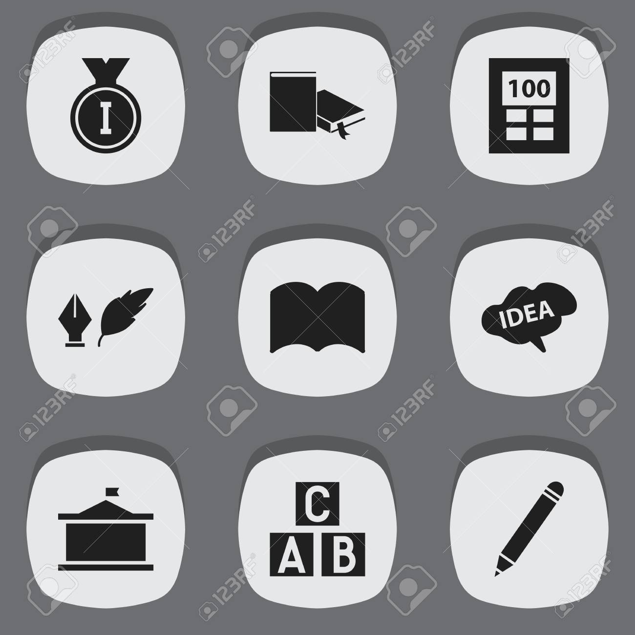 Set Of 9 Editable Science Icons Includes Symbols Such As Dictionary