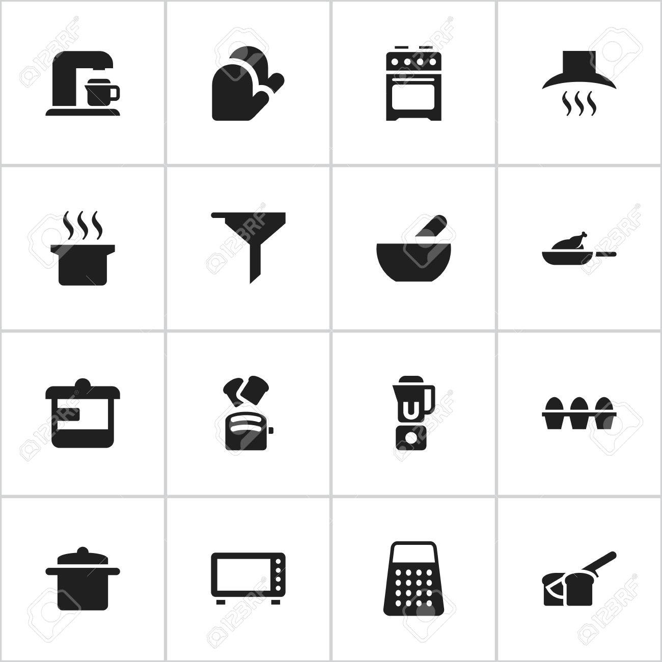 Set Of 16 Editable Food Icons Includes Symbols Such As Grill