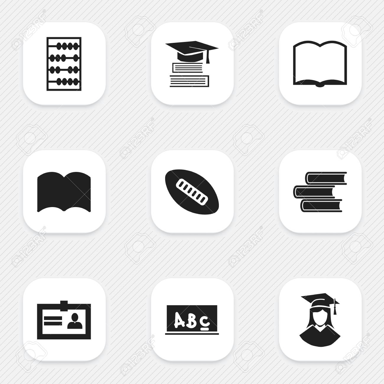 Set Of 9 Editable Graduation Icons Includes Symbols Such As