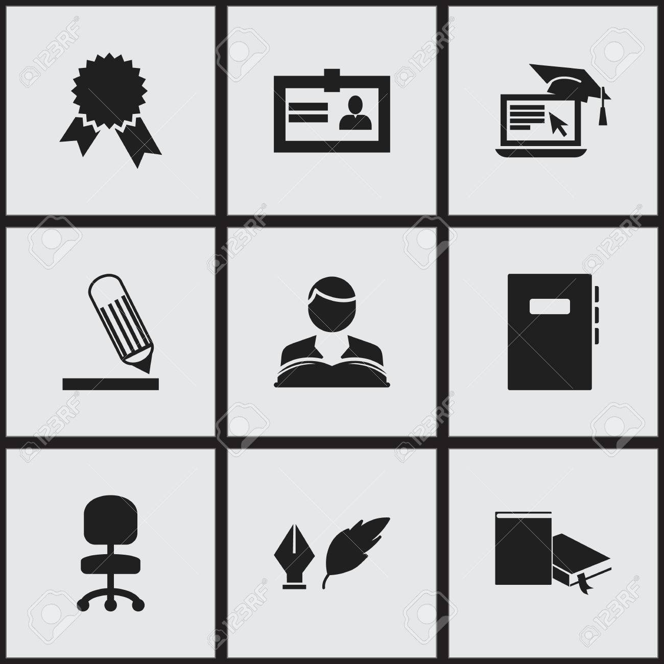 Set of 9 editable school icons includes symbols such as includes symbols such as certification workbook writing 1betcityfo Image collections