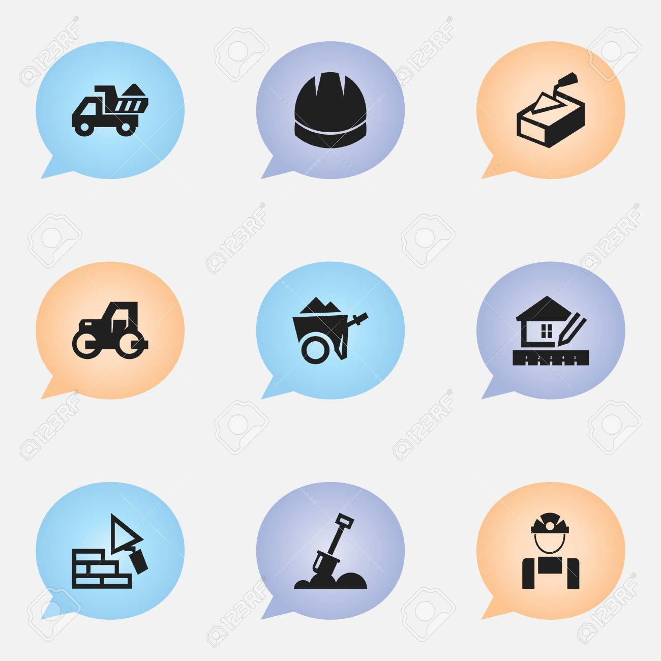 Set Of 9 Editable Structure Icons  Includes Symbols Such As Employee,