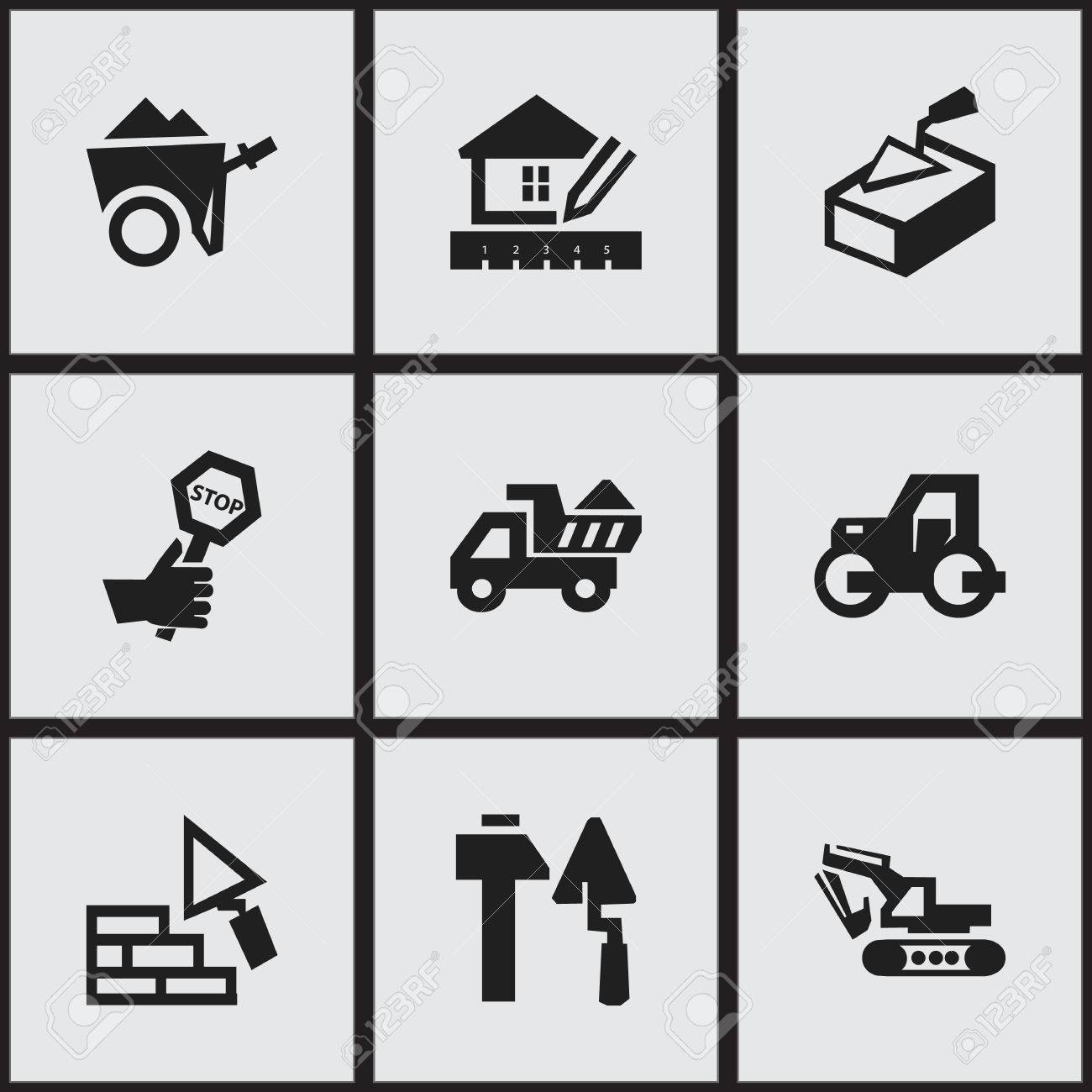 Set Of 9 Editable Construction Icons Includes Symbols Such As