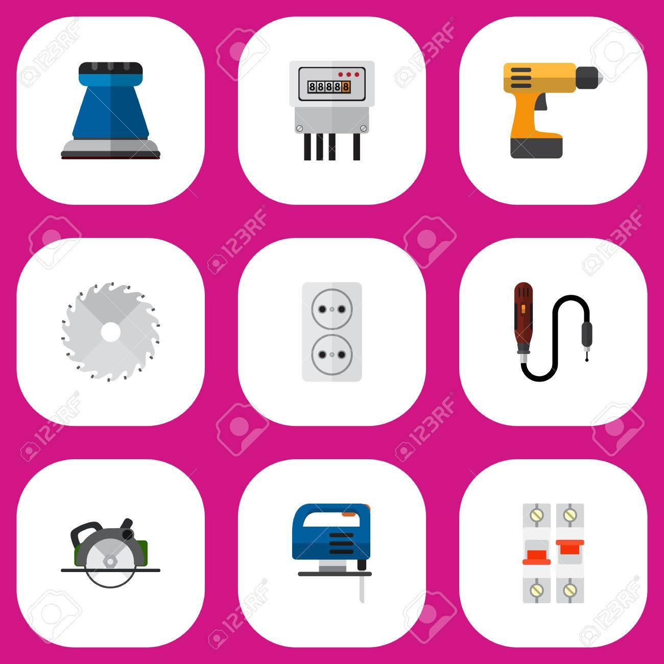 Set Von 9 Bearbeitbaren Elektrischen Icons. Enthält Symbole Wie ...