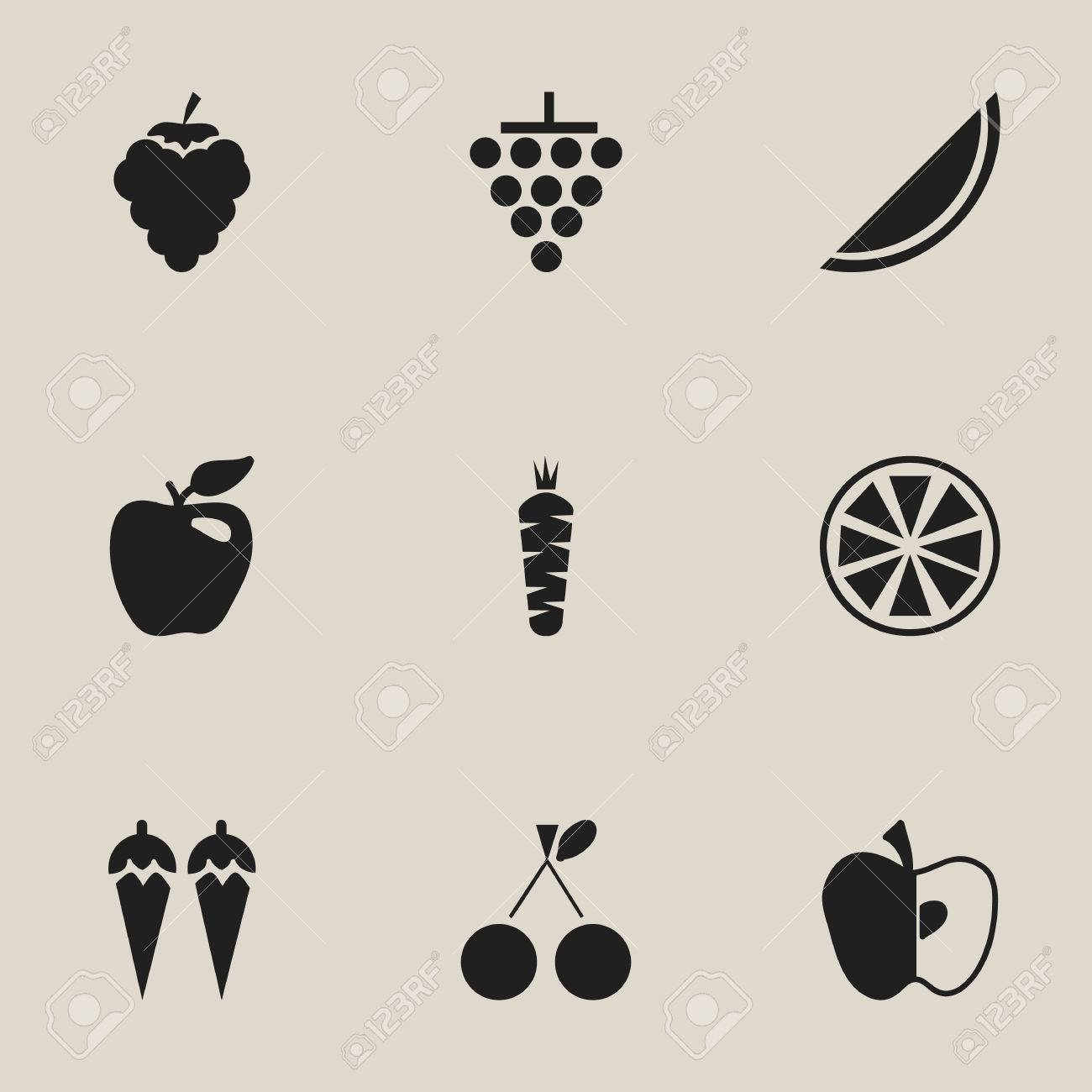 set of 9 editable fruits icons includes symbols such as chili