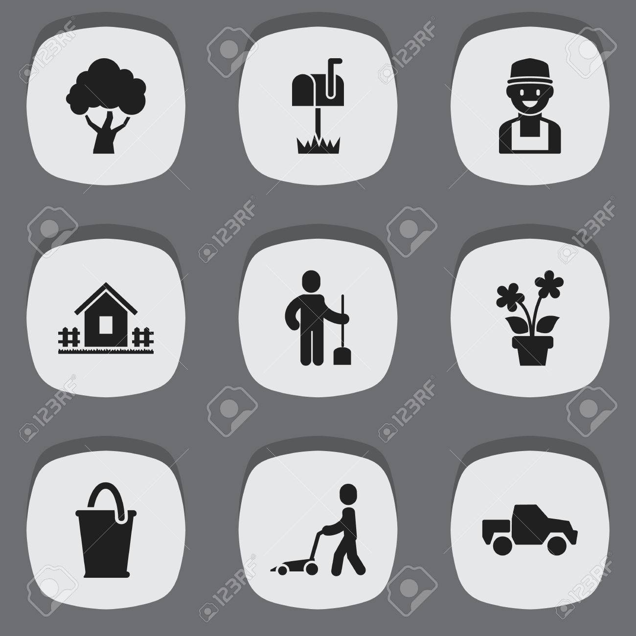 set of 9 editable agriculture icons includes symbols such as rh 123rf com Vector Fence Post Vector Garden Fence
