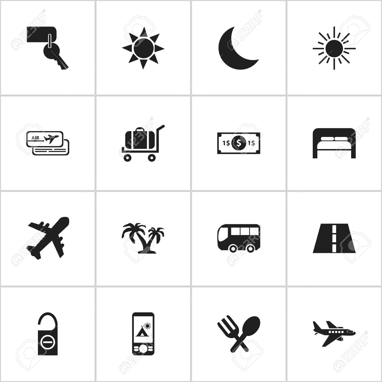 Set Of 16 Editable Travel Icons  Includes Symbols Such As Do