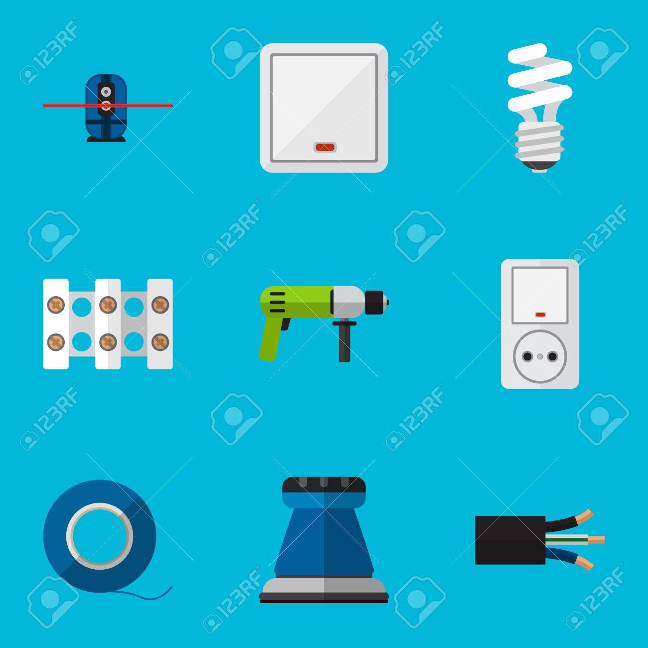 Satz Von 9 Bearbeitbaren Elektrischen Ikonen. Enthält Symbole Wie ...
