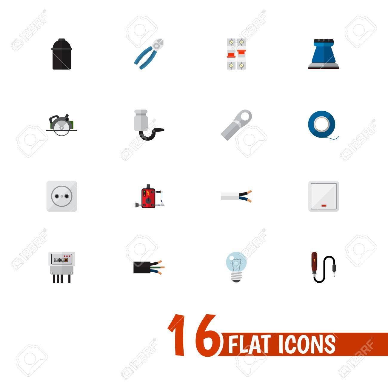 Set Von 16 Bearbeitbaren Elektrischen Ikonen. Enthält Symbole Wie ...
