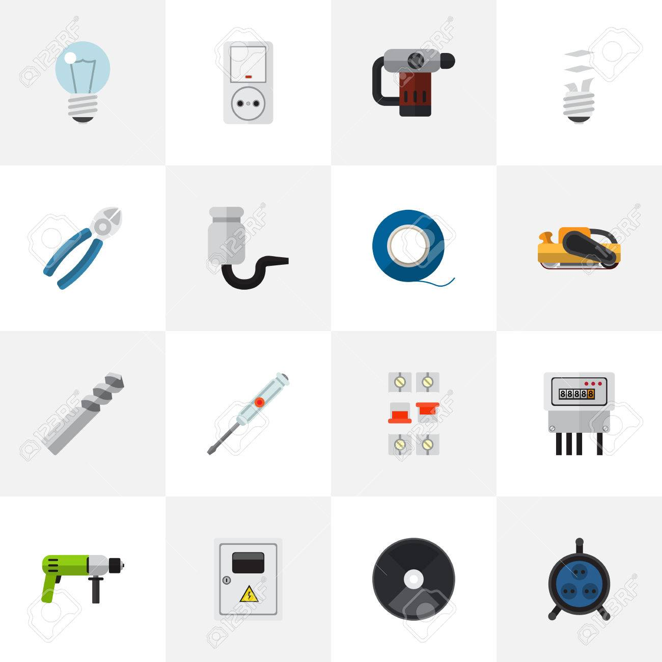Set Of 16 Editable Electrical Icons. Includes Symbols Such As ...