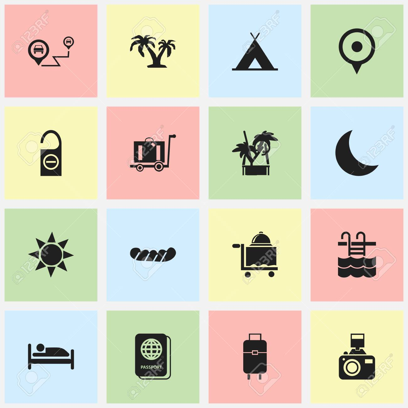 Set Of 16 Editable Trip Icons  Includes Symbols Such As Tree,