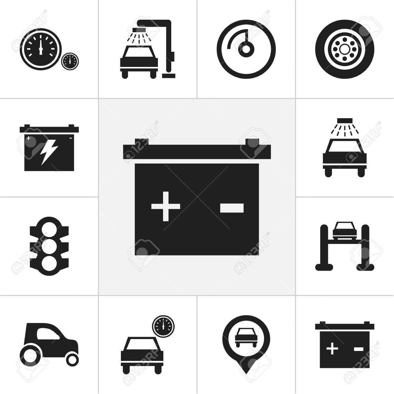 Set Of 12 Editable Vehicle Icons Includes Symbols Such As Car