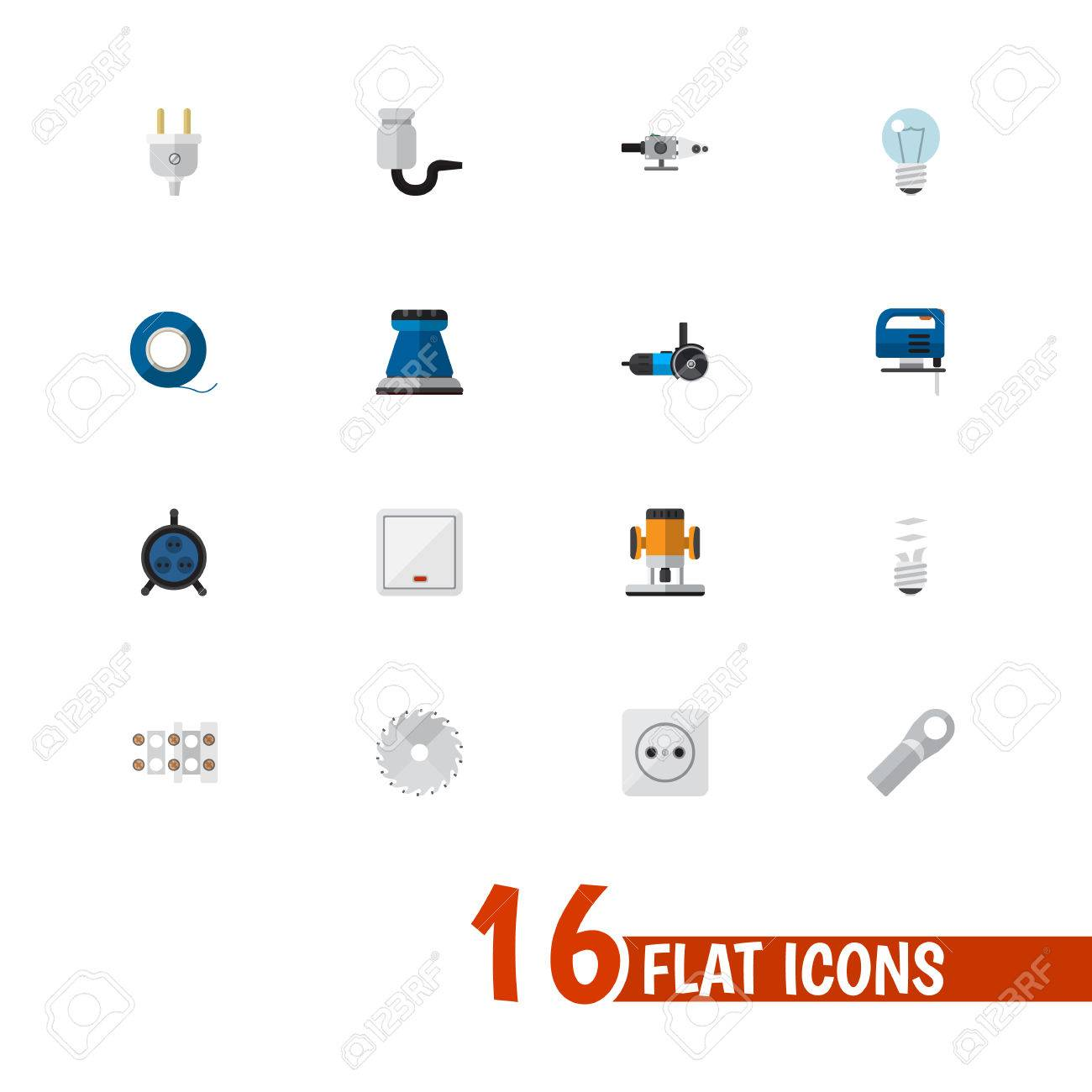 Set Of 16 Editable Electric Icons. Includes Symbols Such As Isolator ...