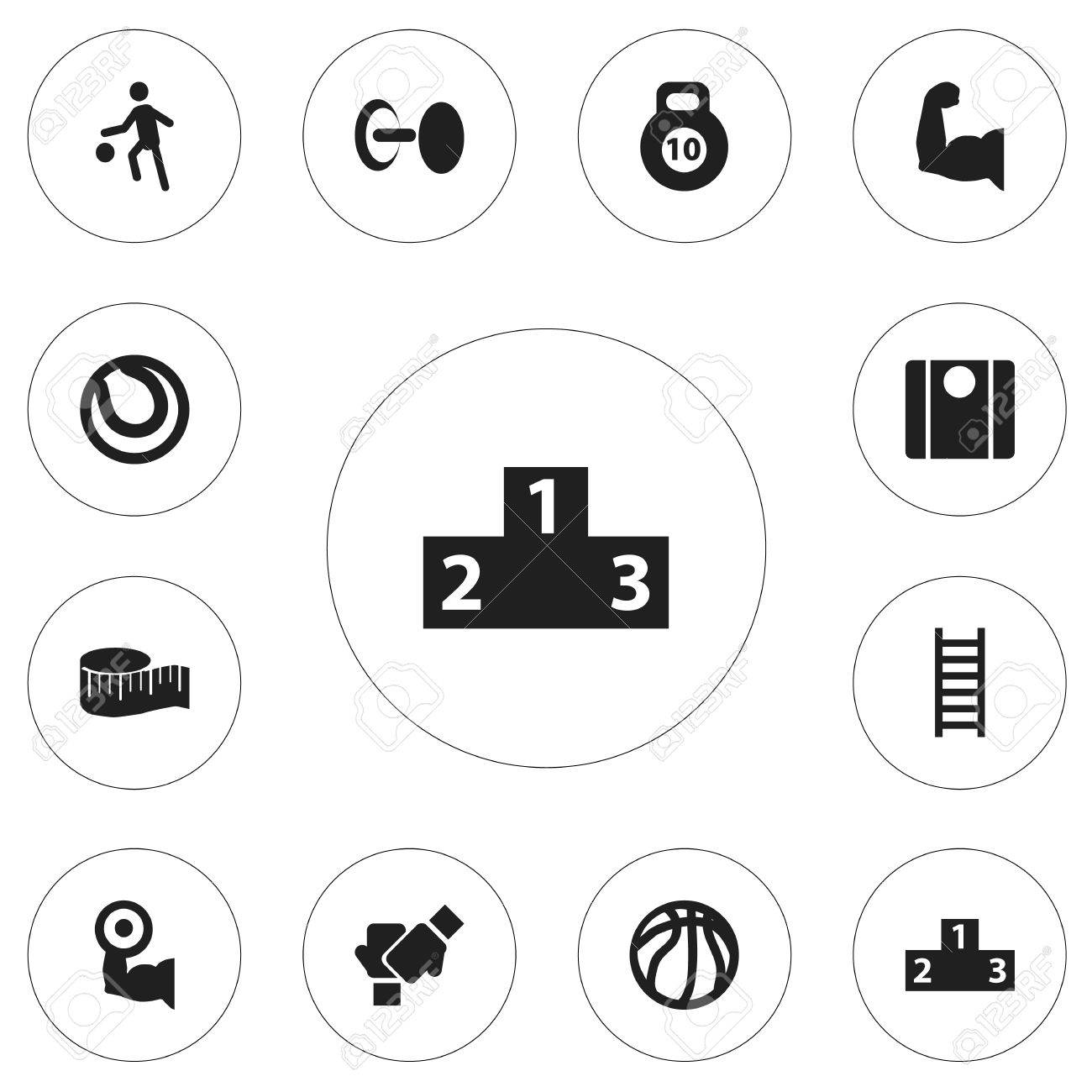 Set Of 12 Editable Training Icons Includes Symbols Such As Stairway