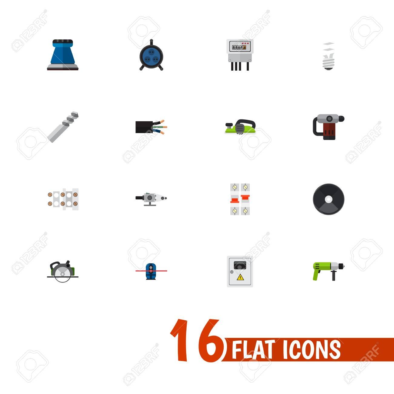 Set Von 16 Bearbeitbaren Elektrischen Icons. Enthält Symbole Wie ...