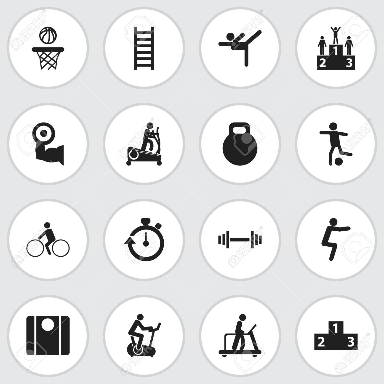 Set Of 16 Editable Fitness Icons Includes Symbols Such As Balance