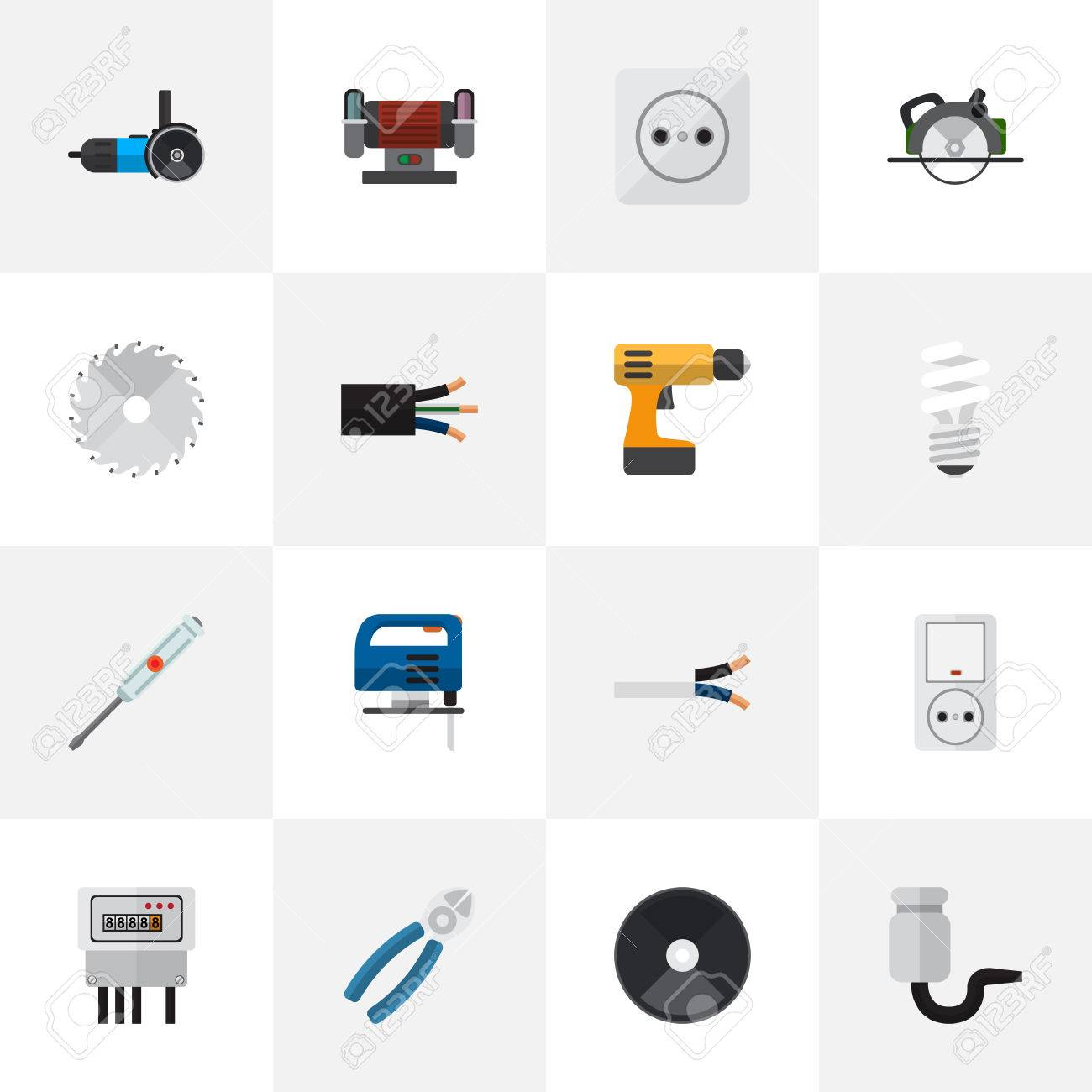 Set Of 16 Editable Electrical Flat Icons. Includes Symbols Such ...