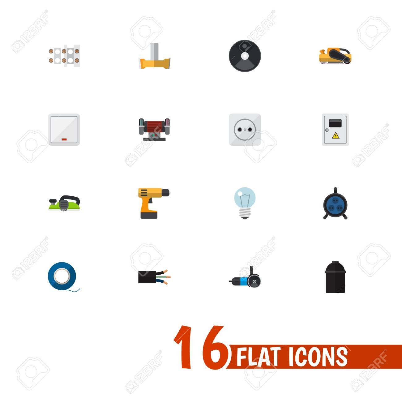 Satz Von 16 Bearbeitbaren Elektrischen Flachen Ikonen. Enthält ...