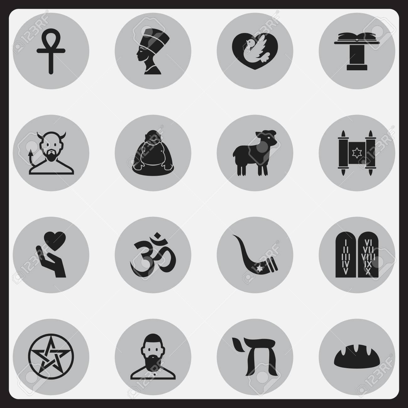 Set Of 16 Editable Faith Icons Includes Symbols Such As Religious