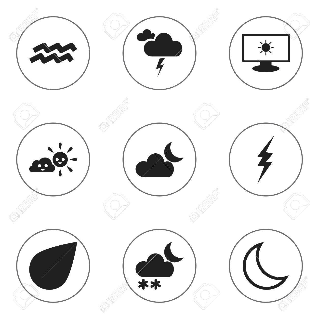 Set Of 9 Editable Air Icons. Includes Symbols Such As High Voltage ...