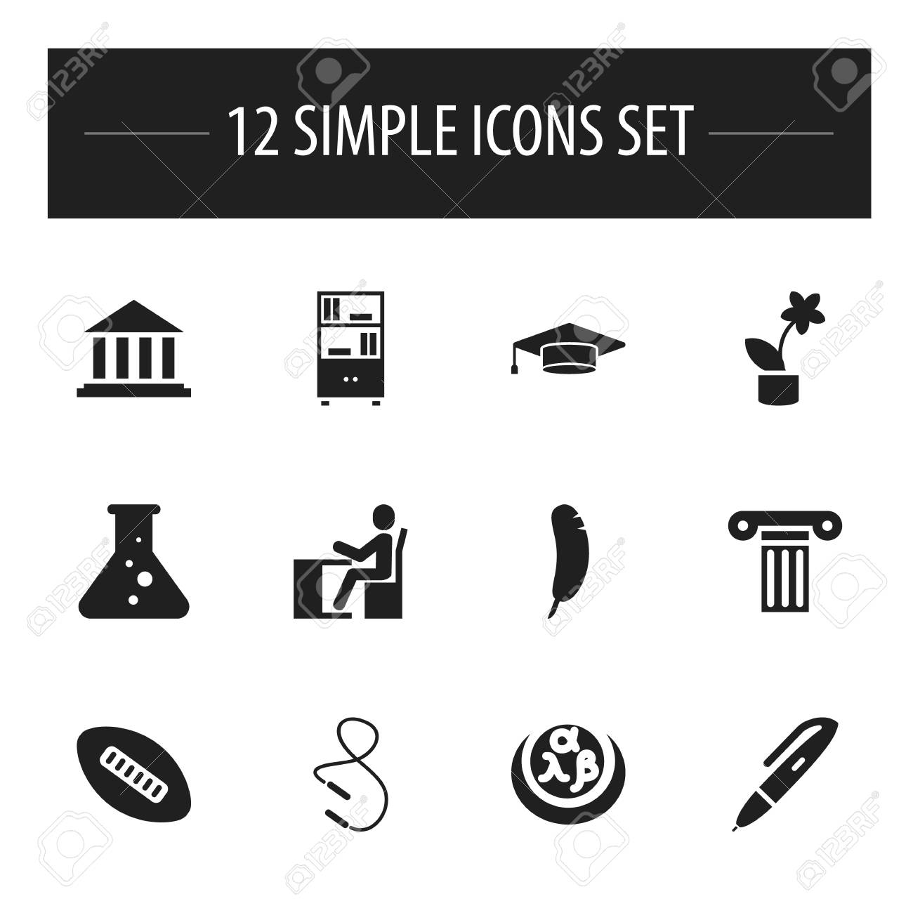 Set Of 12 Editable Science Icons Includes Symbols Such As Greek