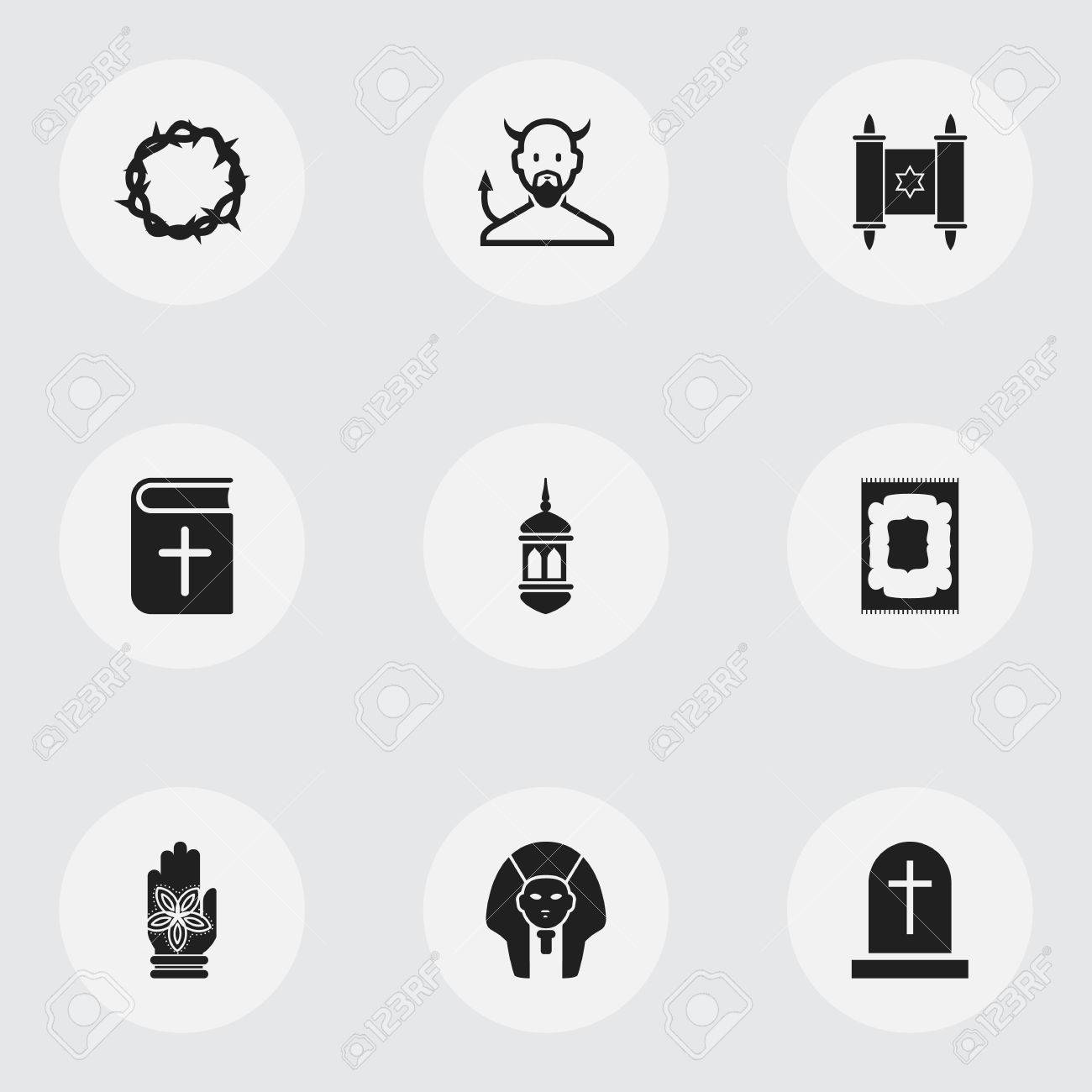 Set Of 9 Editable Dyne Icons Includes Symbols Such As Satan