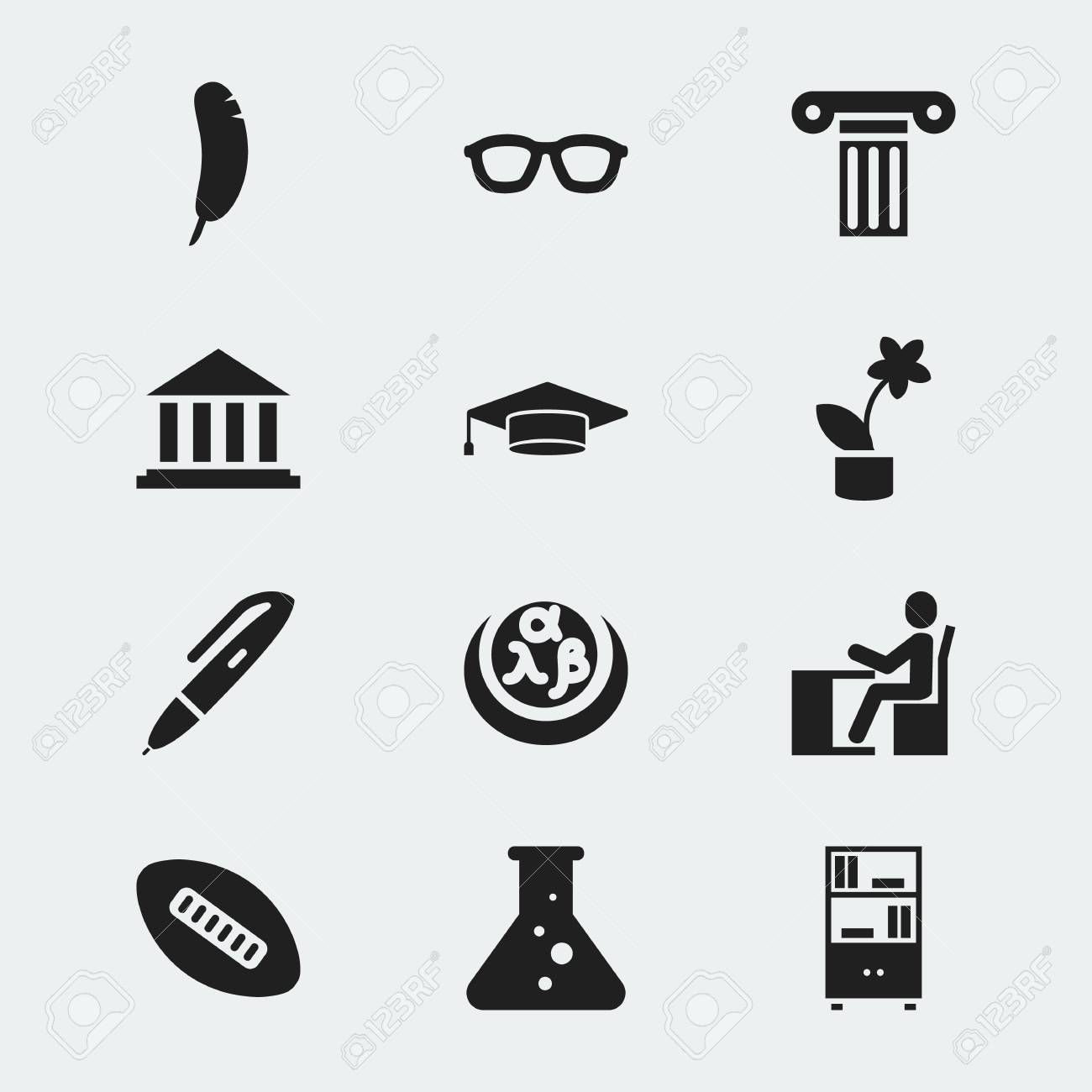 Set Of 12 Editable Science Icons Includes Symbols Such As Pillar