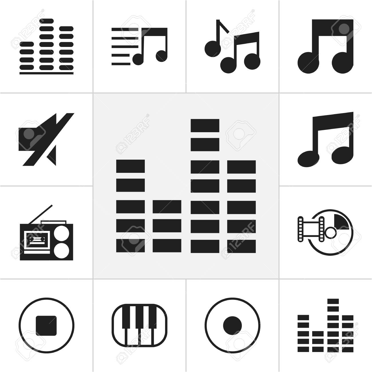 Set Of 12 Editable Media Icons Includes Symbols Such As Musical