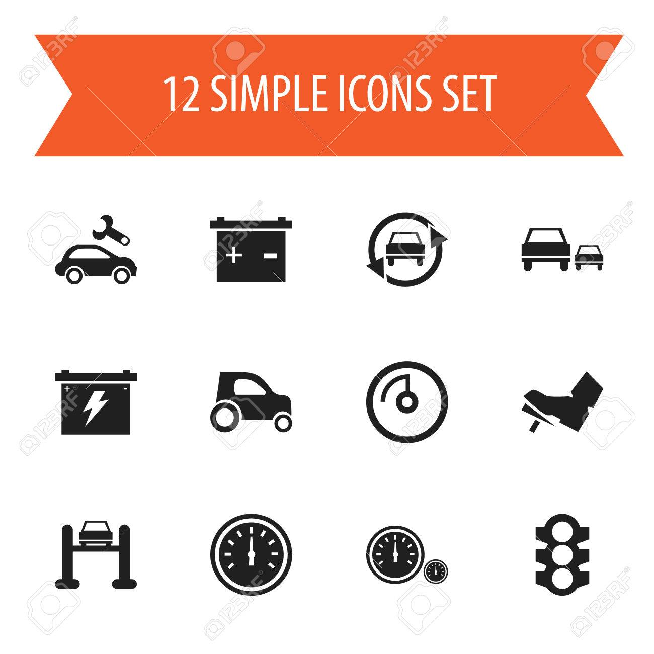 Set Of 12 Editable Vehicle Icons Includes Symbols Such As Treadle