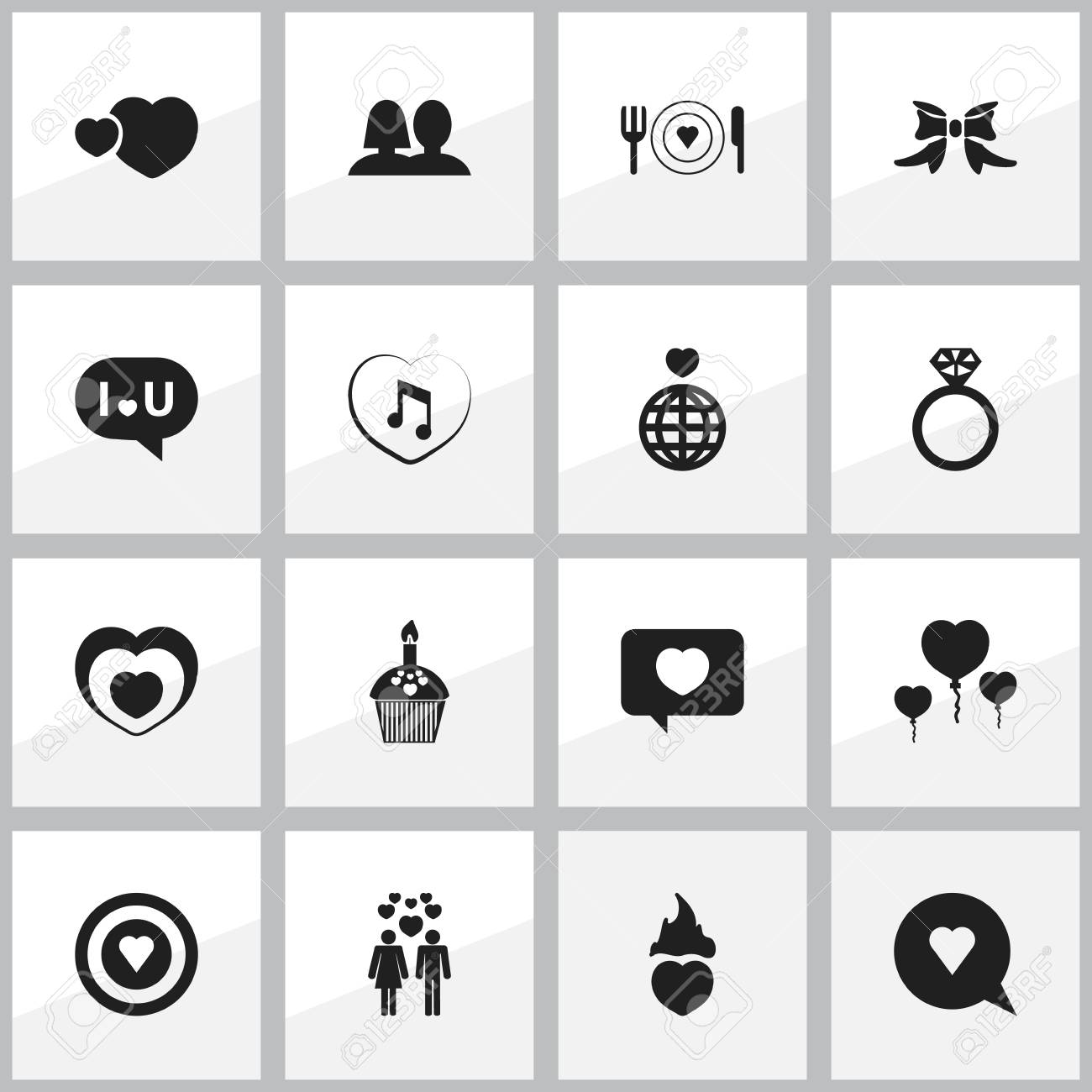 Set Of 16 Editable Love Icons Includes Symbols Such As Dishes