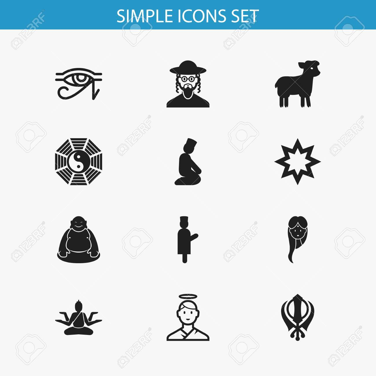 Set Of 12 Editable Religion Icons Includes Symbols Such As Egypt