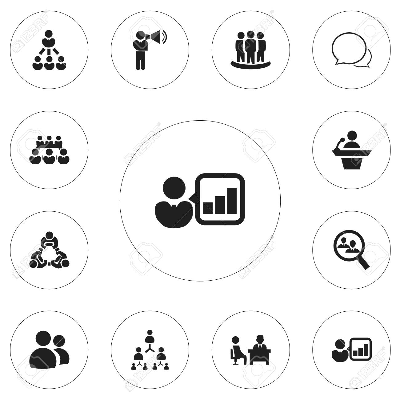 Set Of 12 Editable Team Icons Includes Symbols Such As Hierarchy