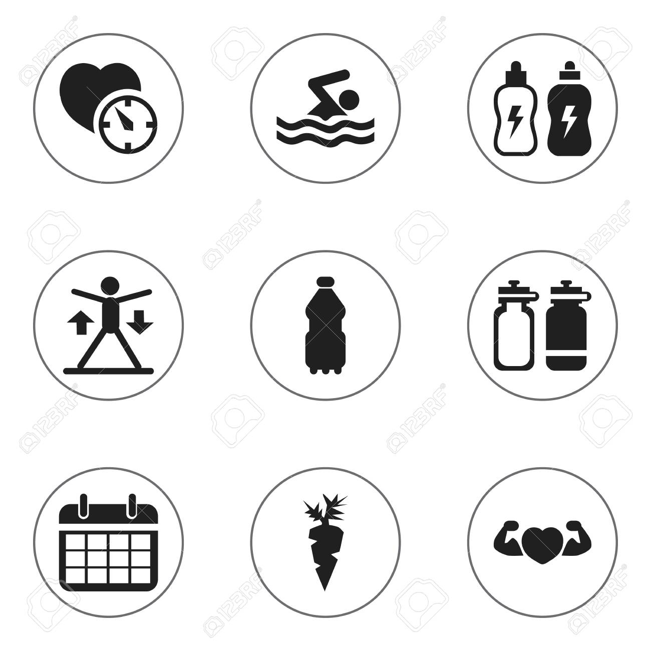 Set Of 9 Editable Exercise Icons  Includes Symbols Such As Energetic