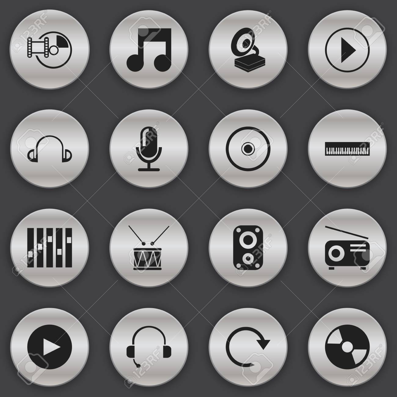 Set Of 16 Editable Mp3 Icons  Includes Symbols Such As Sound