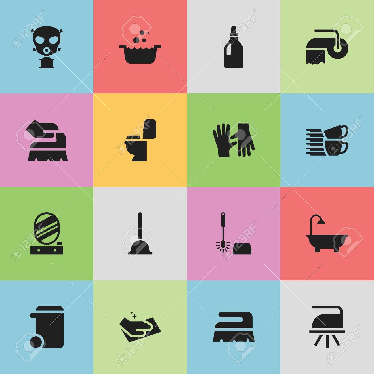 Includes Symbols Such As Dustbin Bathroom Laundry