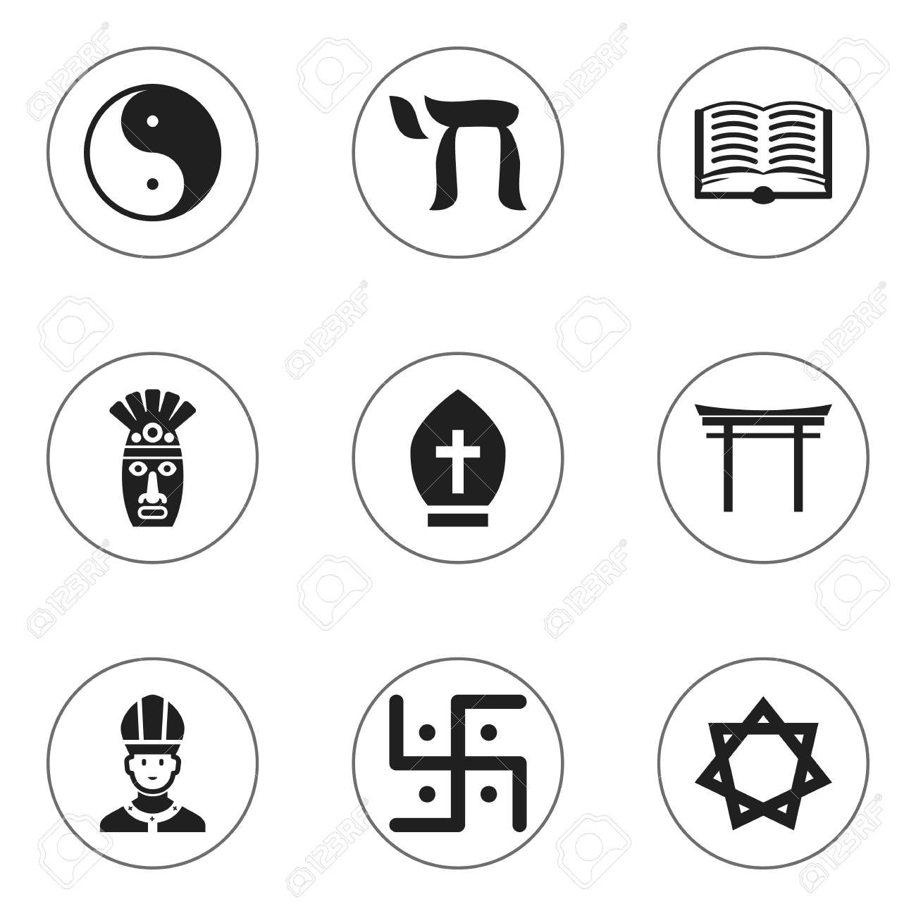 Set of 9 editable faith icons includes symbols such as shaman set of 9 editable faith icons includes symbols such as shaman christian shinto biocorpaavc Gallery