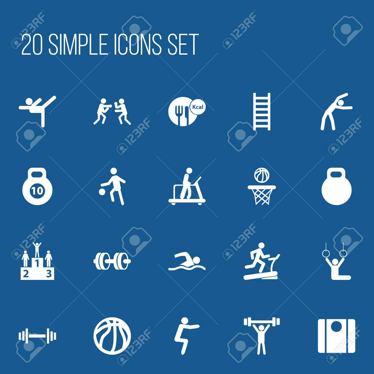 Set Of 20 Editable Sport Icons Includes Symbols Such As Balance