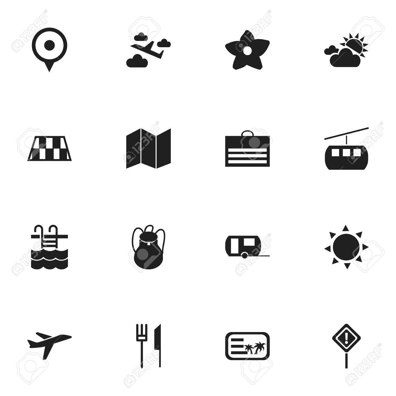Set Of 16 Editable Travel Icons Includes Symbols Such As Invitation
