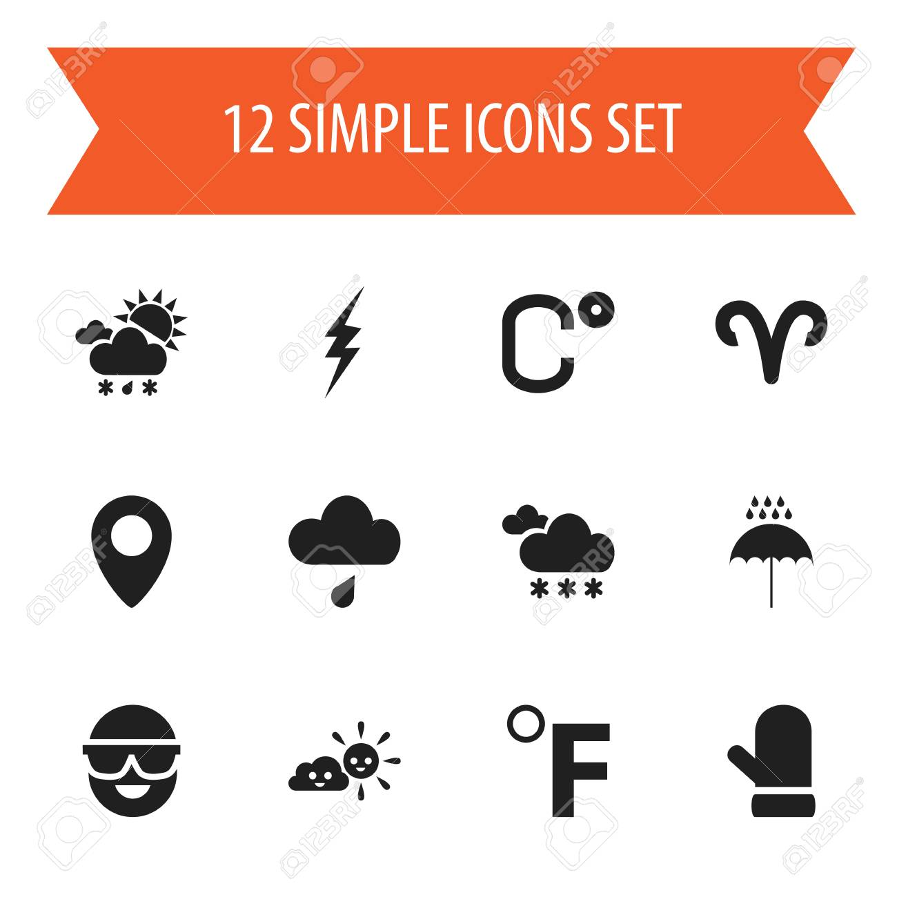 Set Of 12 Editable Climate Icons. Includes Symbols Such As Tornado ...