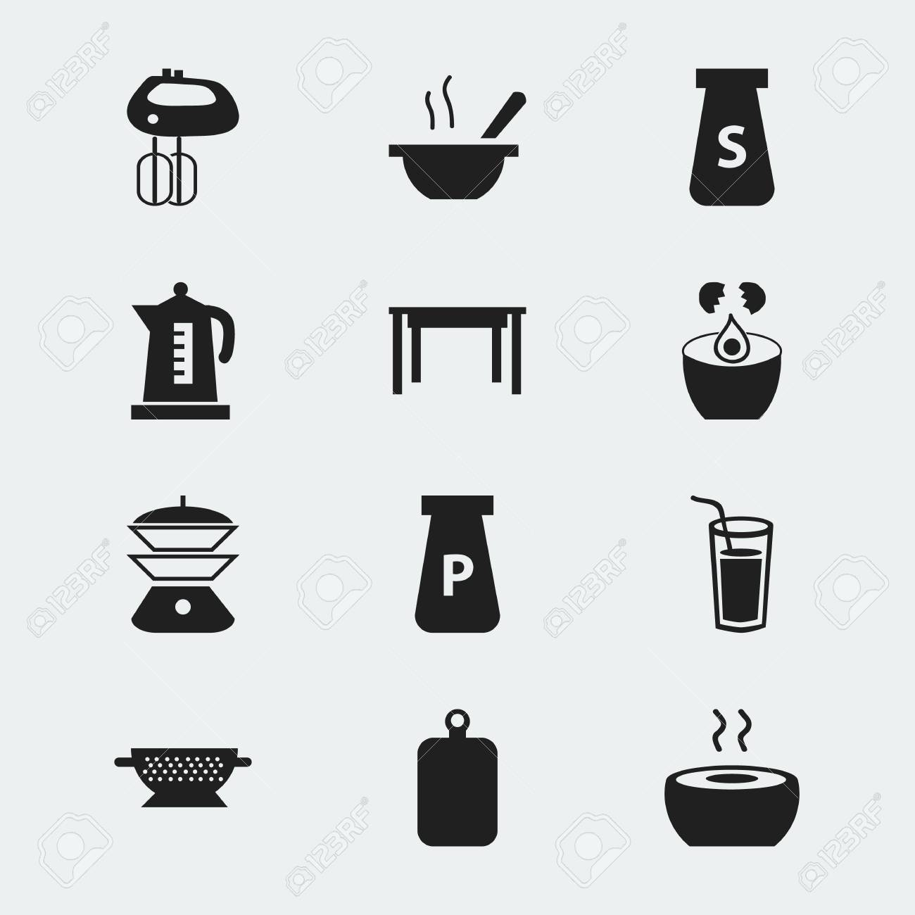 Set Of 12 Editable Kitchen Icons Includes Symbols Such As Kettle