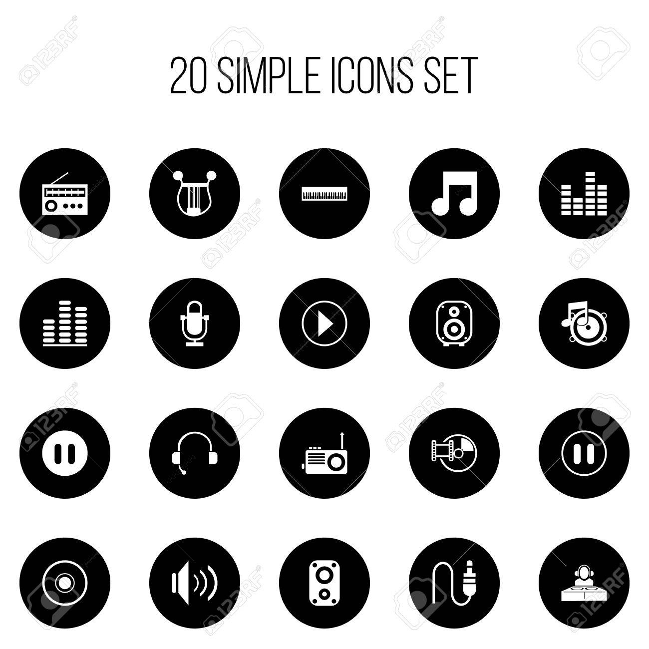 Set Of 20 Editable Song Icons Includes Symbols Such As Radio